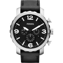 Fossil Nate Black Leather Chronograph Mens Watch JR1436