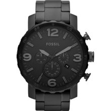 Fossil Nate Chronograph Black Stainless Steel Bracelet Men's Watch Jr1401