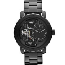 Fossil Nate IP Twist Watch In Black