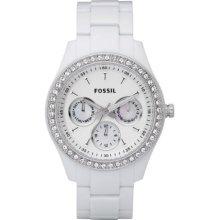 Fossil Stella Day Date Display Quartz White Dial Ladies Watch ES1967
