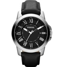 Fossil Watch, Mens Grant Black Leather Strap 44mm FS4745