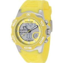 Freestyle Mens Shark X 2.0 Digital Stainless Watch - Yellow Rubber Strap - Yellow Dial - FS85017