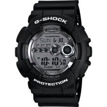 G-Shock Watch, Mens Digital Black Resin Strap 52x55mm GD100BW-1