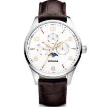 Golana Classic Moon Phase Men's Quartz Watch With Silver Dial Analogue Display And Brown Leather Strap Cl200-3