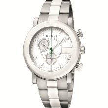 f864ff5d3fd Gucci Chronograph G-timeless Steel And White Ceramic Mens Ya101345 Watch