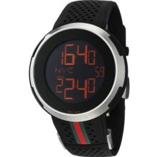 Gucci Men's 'I Gucci' Swiss Made Quartz Black Digital Dial Rubber Strap Watch