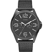 Guess Textured Watch In Black
