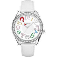 Guess White Leather Women's Watch U11066L1