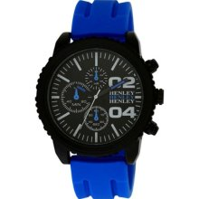 Henley Decorative Multi-Dial Men's Sports Quartz Watch With Black Dial Analogue Display And Blue Silicone Strap H02056.6