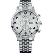Hugo Boss 1512445 Watch HB2006 Mens - Silver Dial Stainless Steel Case Quartz Movement