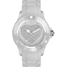 ICE Watch 'Love Stones' Silicone Strap Watch, 43mm White