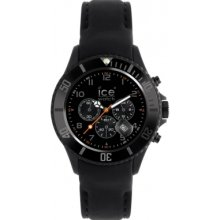 Ice-Watch Mens Ice-Chrono Matte Chronograph Stainless Watch - Black Leather Strap - Black Dial - CHM.BK.B.S.12