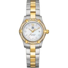In Box Tag Heuer Aquaracer Ladies Gold & Steel Diamond Watch Waf1350.bb0820