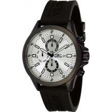 Invicta Men's 1839 Specialty Silver Dial Black Polyurethane Watch