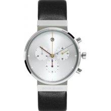 Jacob Jensen Chronograph Series Unisex Quartz Watch With White Dial Chronograph Display And Black Leather Strap 606