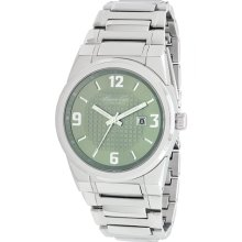 Kenneth Cole Mens New York Dress Sport Classic Stainless Watch - Silver Bracelet - Green Dial - KC9018