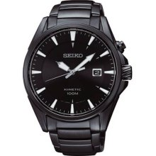 Kinetic Black Stainless Steel Case And Bracelet Black Tone Dial Date D