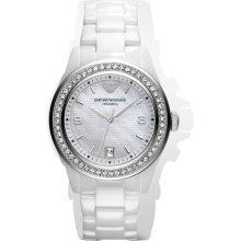 Ladies Emporio Armani White Ceramica Crystal Watch Ar1426