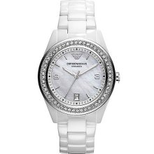 Ladies' White Crystal Watch