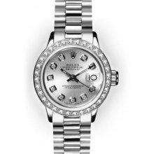 Ladies White Gold Beadset Bezel Rolex President (416)