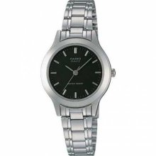 LTP1128 3-Hand Analog Ladies Fashion Black Face Silver Metal Band Watch