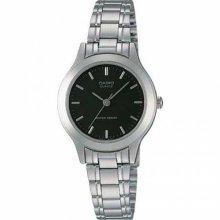 LTP1128 3-Hand Analog Ladies Fashion Black Face Silver Metal Band Watch