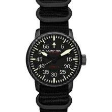 Lum-Tec Mens Combat B16 Automatic Analog Stainless Watch - Black Nylon Strap - Black Dial - LTB16