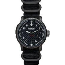 Lum-Tec Mens Combat B7 Automatic Titanium Watch - Black Nylon Strap - Carbon Fiber Dial - LTB7