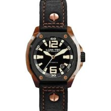 Lum-Tec Mens V-Series Automatic Analog Stainless Watch - Black Leather Strap - Black Dial - LTV6