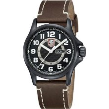 Luminox Mens Automatic Field Stainless Watch - Brown Leather Strap - Black Dial - L1807