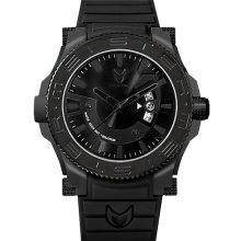 Meister Mens Prodigy Limited Edition Stainless Watch - Black Rubber Strap - Black Dial - PR103