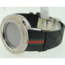 Mens 2 Timezone I Gucci Digital White Diamond Watch 12c