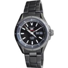 Men's Black Stainless Steel Seiko 5 Automatic Black Dial Day and Date