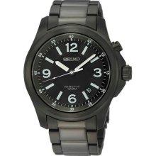 Men's Black Stainless Steel Case and Bracelet Kinetic Black Dial