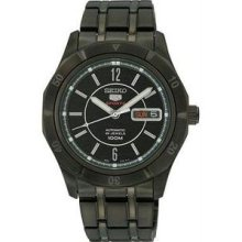Men's Black Stainless Steel Case and Bracelet Automatic Black Dial