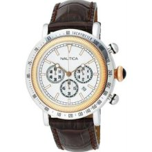 Men's Chronograph Stainless Steel Case Leather Bracelet Silver Tone