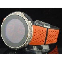 Mens Custom Diamond Gucci I-gucci Ya114104 Orange Digital Watch 49 Mm Face