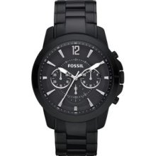 Mens Fossil Grant Black Stainless Steel Watch