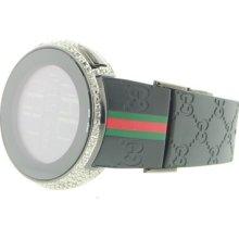 Mens Full Casing Black Pvd Ya114207 Custom Digitai Gucci White Diamond Watch 5ct