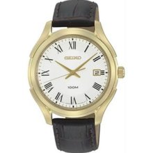 Men's Gold Tone Stainless Steel Case White Dial Quartz Brown Leather