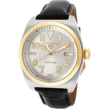 Men's Heritage Silver Dial Gold Tone IP Bezel Black Genuine Leath ...