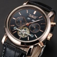 Mens Luxury Rose Gold Case Automatic Mechanical Tourbillion Date Leather Watch