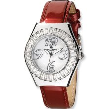 Men's, Red Leather Band Watch by Charles Hubert
