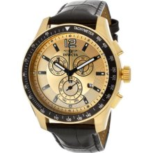 Men's Specialty Chronograph White Crystal Gold Dial Black Genuine ...