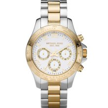 Michael Kors Chronograph Two-tone White Dial Ladies Watch MK5455