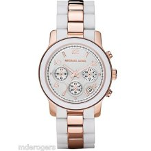 Michael Kors Ladies Chronograph White Silicone & Rose Gold Bracelet Watch Mk5464