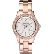 Michael Kors Ladies Rose Gold Tone Link Bracelet Quartz Crystal Mother Of Pearl Dial MK5403