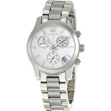 Michael Kors Ladies Stainless Steel Chronograph Quartz Silver Dial Date Display MK5428