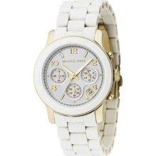 Michael Kors Women's Two Tone Chronograph White Dial Watch - Michael Kors Mk5145