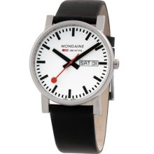 Mondaine Mens SBB Official Railways Watch Evo 38 Basic GTS Stainless Watch - Black Leather Strap - White Dial - A667.30344.11SBB